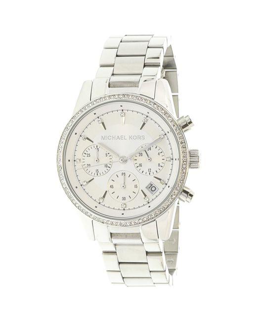 Michael Kors - Metallic Ritz Chronograph White Dial Ladies Watch Mk6428 - Lyst