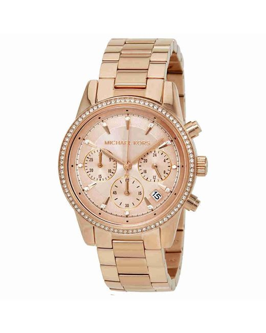 Michael Kors - Metallic Ritz Rose Dial Ladies Watch Mk6357 - Lyst