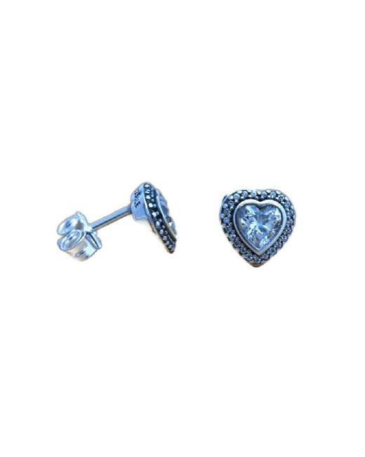 Pandora | Blue Authentic Earrings Sparkling Love With Clear Cz 290568cz | Lyst