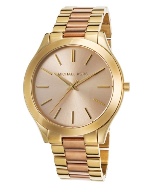 Michael Kors | Metallic Women's Slim Runway Two-tone Stainless Steel Rose-tone Dial | Lyst