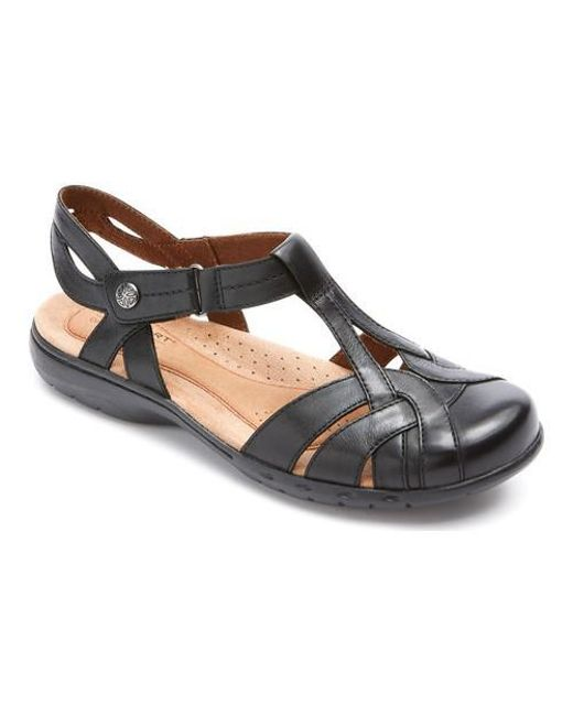8737ce957 Lyst - Rockport Cobb Hill Penfield T Strap Sandal in Black - Save 1%