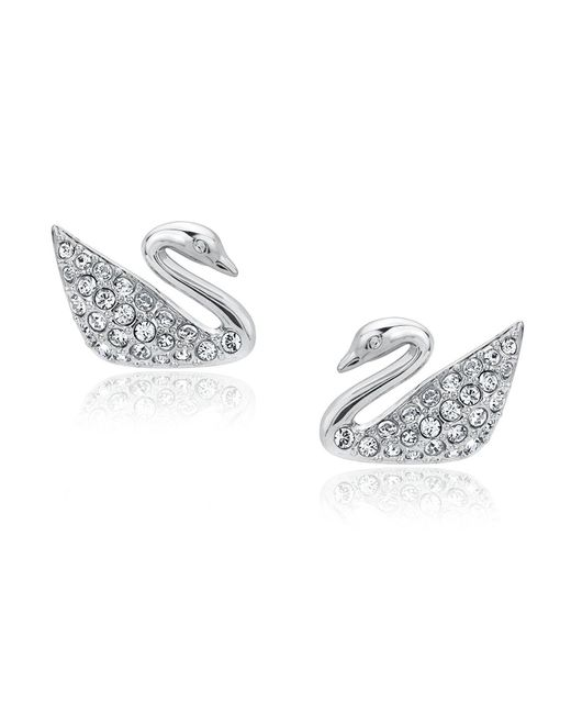 Swarovski   Metallic 1116357 Rhodium-plated Clear Crystal Swan Pierced Earrings   Lyst