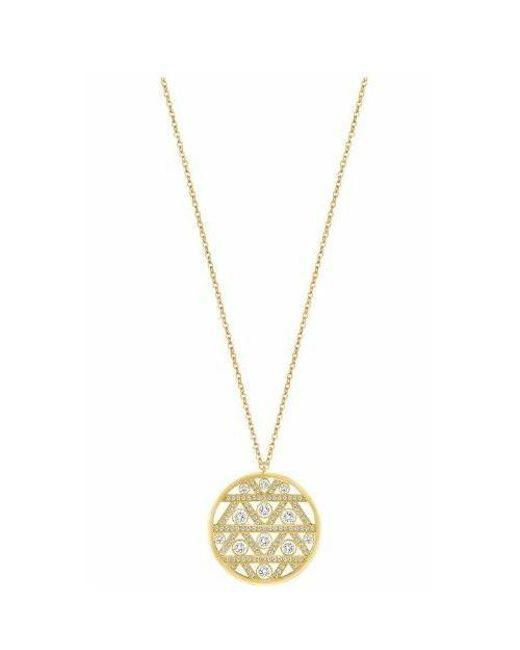 Swarovski | Metallic Gold-tone Crystal Art Deco Pendant Necklace | Lyst