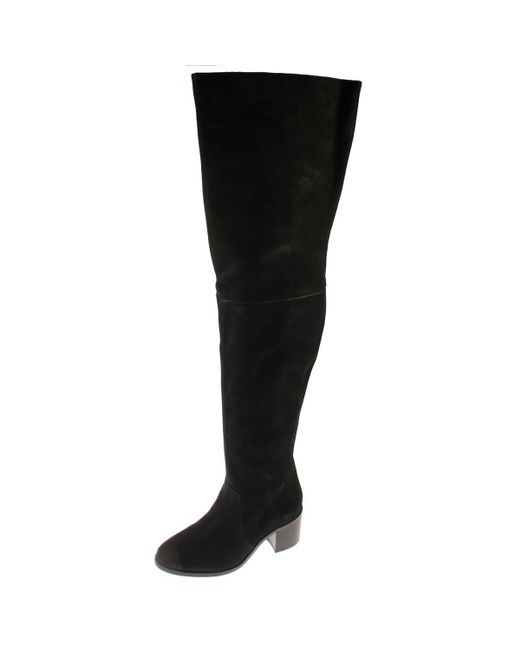 Steve Madden - Black Lancing Nubuck Stacked Heel Over-the-knee Boots - Lyst