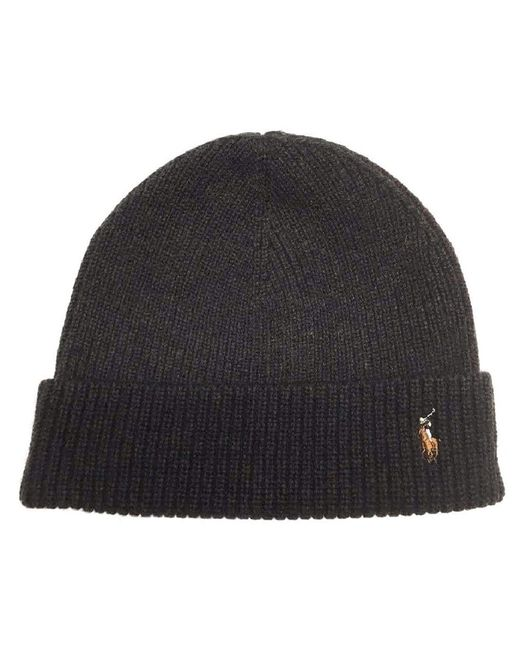 Polo Ralph Lauren   Black Signature Merino Cuff Pony Hat Beanie-olive for Men   Lyst