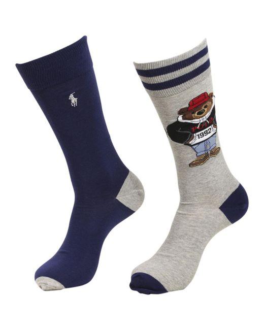 Polo Ralph Lauren - Gray 2-pairs Stadium Bear Grey/navy Socks Sz: