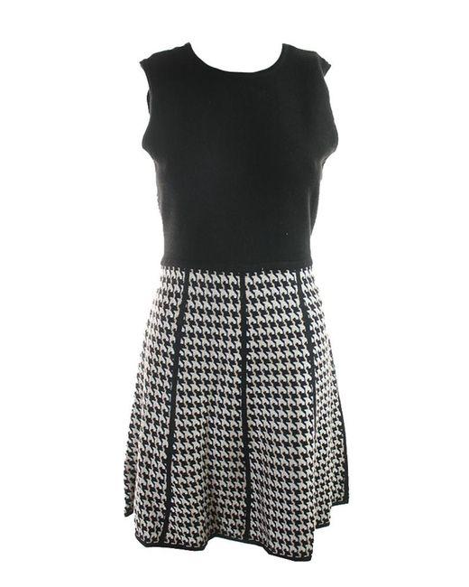 Calvin Klein | Black Womens Petites Knit Pattern Sweaterdress | Lyst