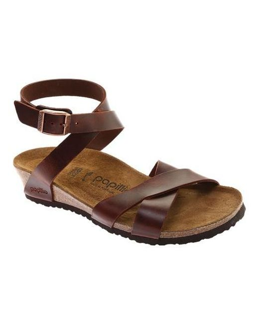 1bcc4fae29f Lyst - Birkenstock Papillio Lola Leather Ankle Strap Sandal in Brown