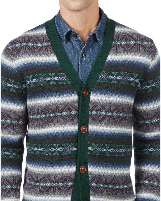 Lyst - Tommy hilfiger Fair Isle Cotton And Wool Cardigan Sweater ...