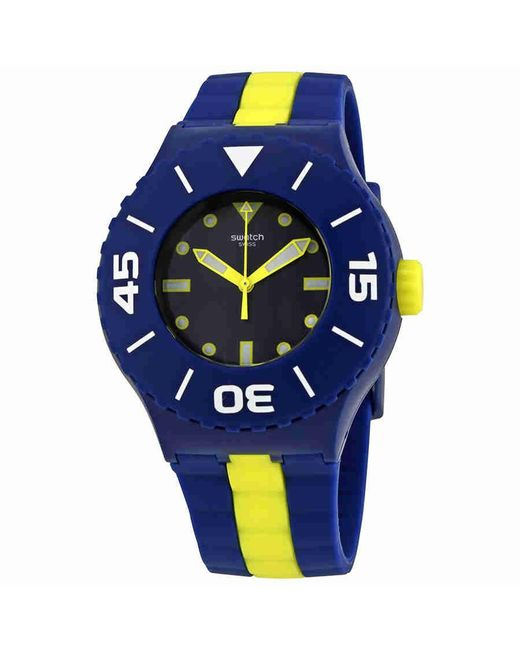 Swatch | Long Waves Dark Blue Dial Two Tone Watch Suun102 for Men | Lyst