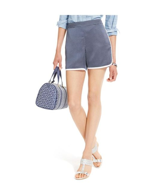 Tommy Hilfiger | Blue Womens Pipe-trim Polka Dotted Casual Walking Shorts Egret 16 | Lyst
