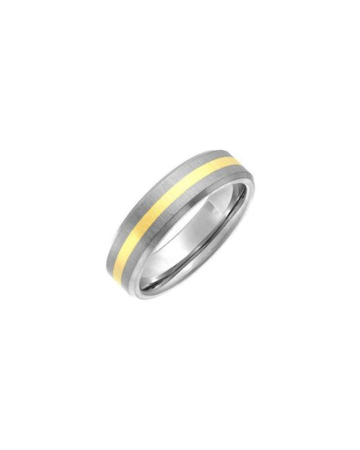 Star Wedding Rings - Brown Titanium And 9kt Yellow Gold Inlay Flat Court Shape Matt Ring - Lyst