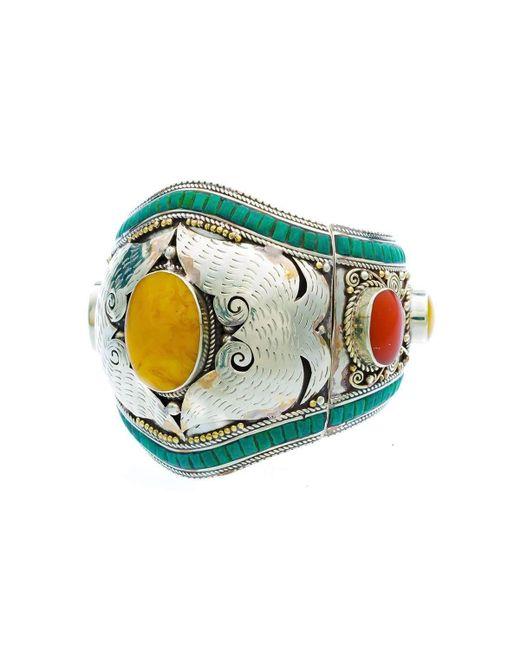 Devon Leigh | Multicolor Antiqued White Brass Yellow Jade Cuff | Lyst