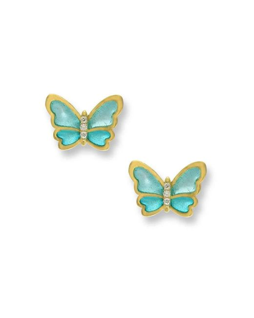 Nicole Barr | Multicolor 18kt Gold Butterfly Turquoise Stud Earrings | Lyst