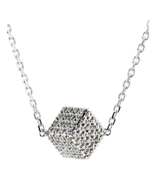 Loushelou - White Diamond Cube Pendant - Lyst
