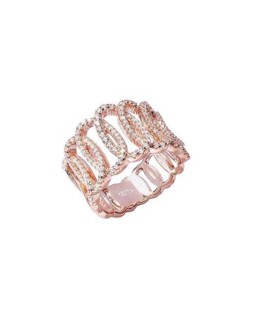 Lustre of London | Pink Rose Squiggle Ring | Lyst
