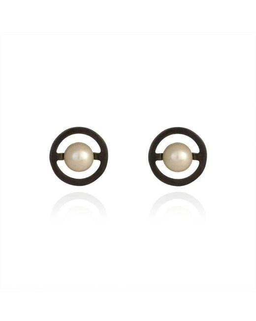 Cara Tonkin - Multicolor Oxidised Silver Orbit Saturn Stud Earrings - Lyst