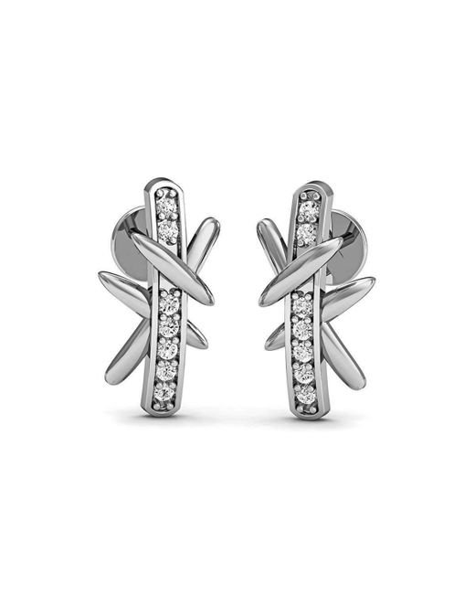 Diamoire Jewels - Metallic Diamond Pave Earrings In Fine Polished 10kt White Gold - Lyst