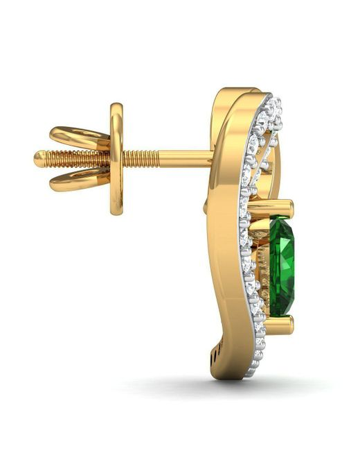 Diamoire Jewels - Multicolor Heart Cut Emerald And Diamond Earrings In 18kt Yellow Gold - Lyst
