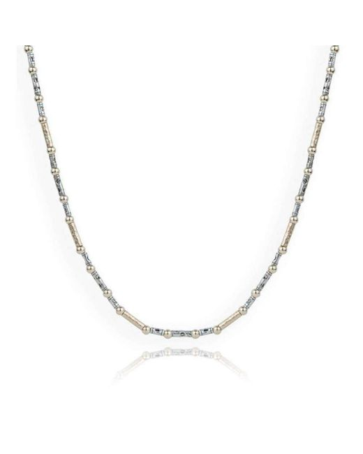 Lavan Hammered Sterling Silver & Blue Opal Necklace - 16 Inches iie9AJ