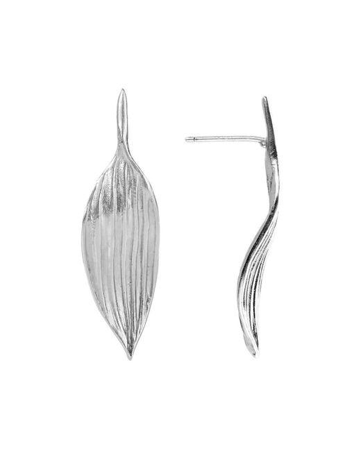 AWU Fine Jewelry - Multicolor Sterling Silver Bamboo Leaf Stud Earrings   - Lyst