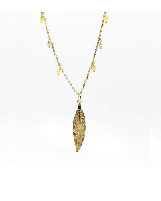 "Amazona Secrets - Metallic Uvaia's Leaf Necklace ""little Fruit""with Freshwater Pearl And Yellow Jade - Lyst"