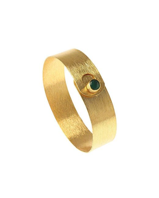 Isla - Metallic Small Minimalist Bangle With Green Onyx - Lyst