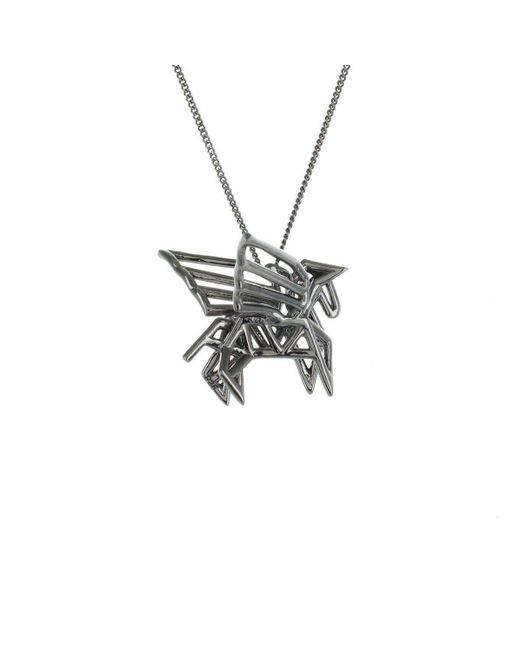 Origami Jewellery - Metallic Black Silver Frame Pegaze Origami Necklace - Lyst