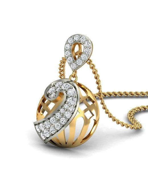Diamoire Jewels Premium Diamonds and Hand-carved 18kt Yellow Gold Nature Inspired Pendant tbUvywtcAy