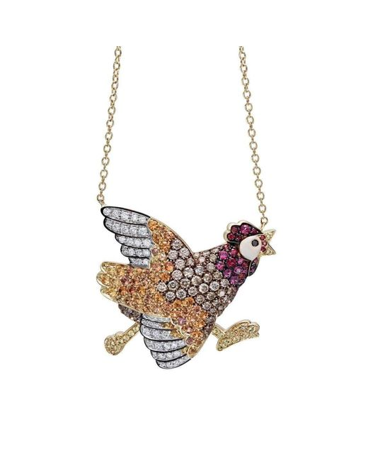 Pinomanna - Multicolor Gold & Sapphire Natural Chic Running Chicken Necklace | - Lyst