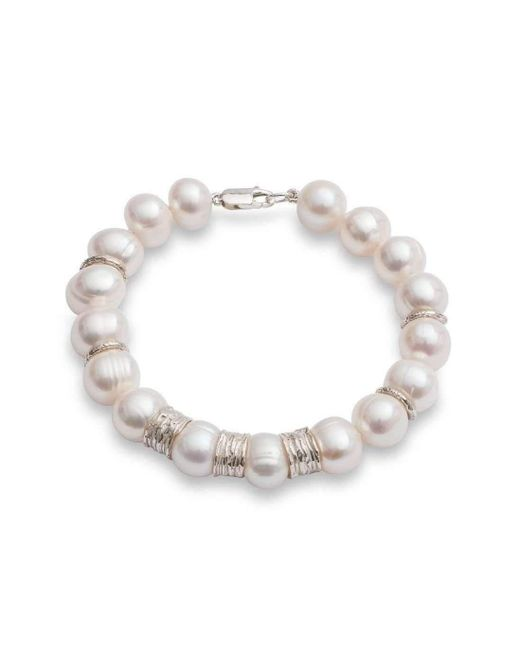 The Pearl Quarter   Metallic Chunky Pearl Bracelet With Silver Beads   Lyst