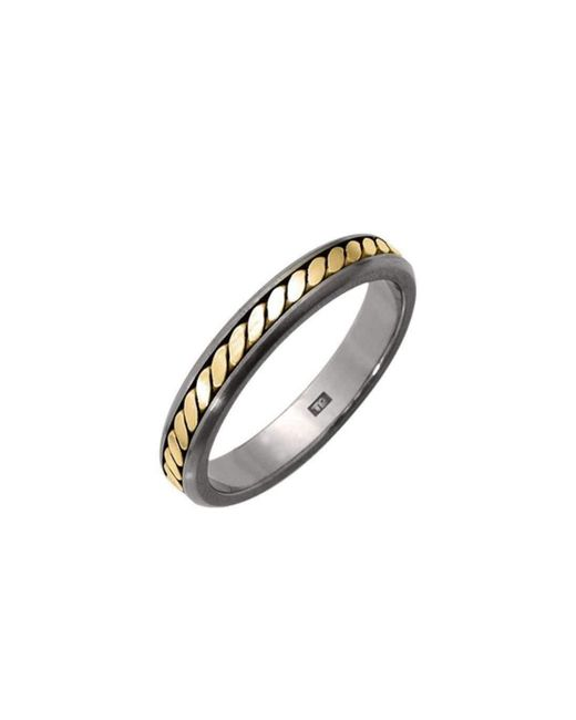 Prism Design - Metallic Titanium And 18kt Gold Rope Ring - Lyst