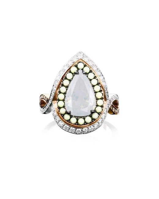 Joke Quick - Multicolor Twilight Entourage Ring With White Pear Cut Diamond - Lyst