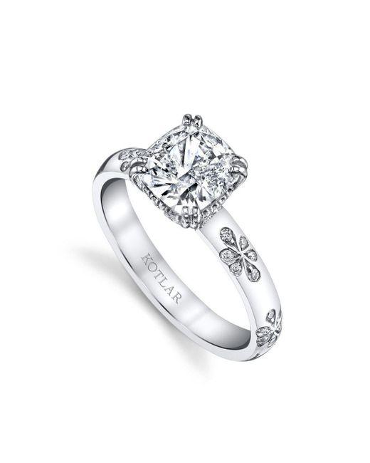 Harry Kotlar - Metallic Kotlar Cushion Floral Artisan Pave Ring - Lyst