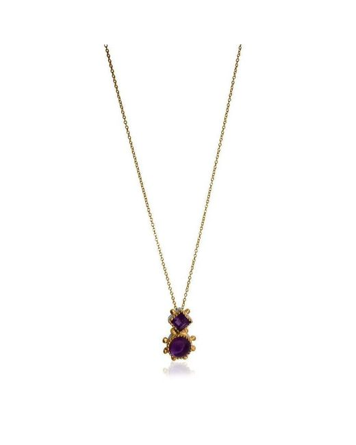 Deci London - Metallic Aurora Double Drop Amethyst Pendant - Lyst