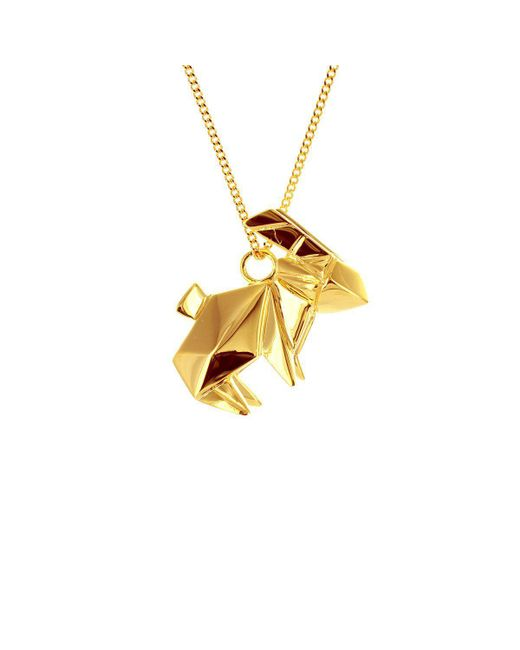Origami Jewellery - Metallic Rabbit Necklace Gold Plated - Lyst
