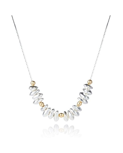 Lavan - Metallic Gold And Silver Nugget Necklace With 4mm Gold Filled Beads - Lyst