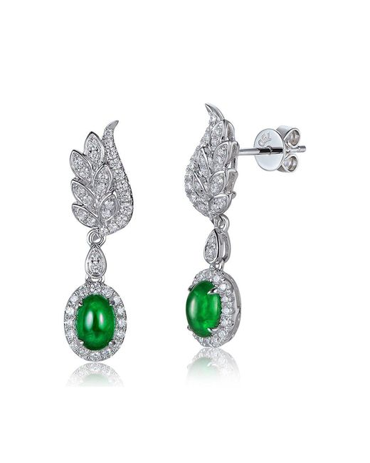 SILVER YULAN - Multicolor Cabochon Emerald Diamond Wing Earrings - Lyst