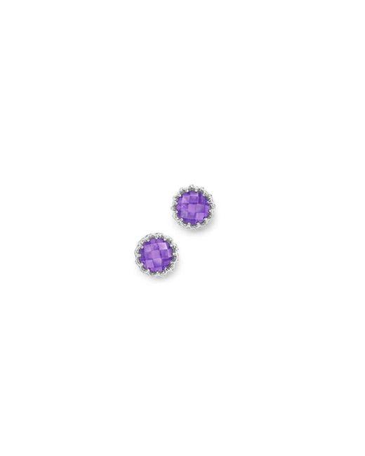 London Road Jewellery - Multicolor Bloomsbury White Gold Amethyst Coronation Stud Earrings - Lyst