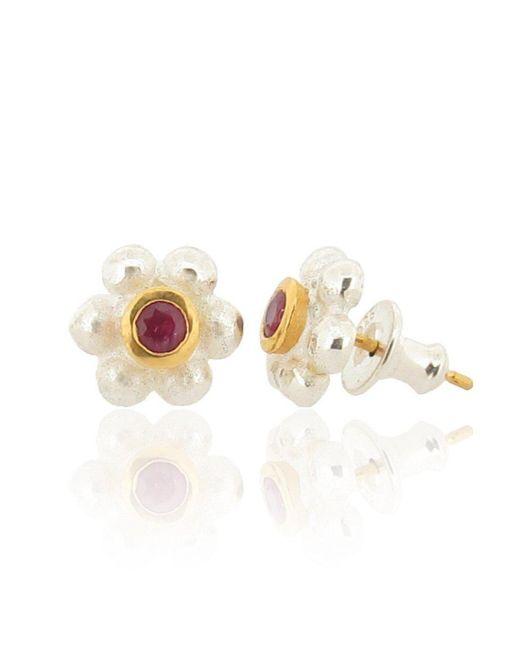 Ana Verdun - Metallic Silver & Ruby Grace Stud Earrings - Lyst