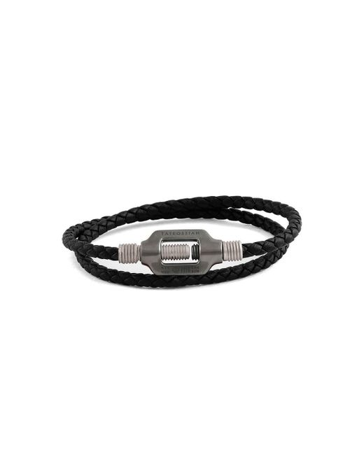 Tateossian - Black Silver & Leather Double Bolt Silver Bracelet - Lyst