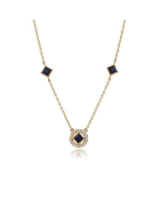 Gemondo Jewellery - Metallic Sapphire And Diamond Geometric Halo Necklace - Lyst