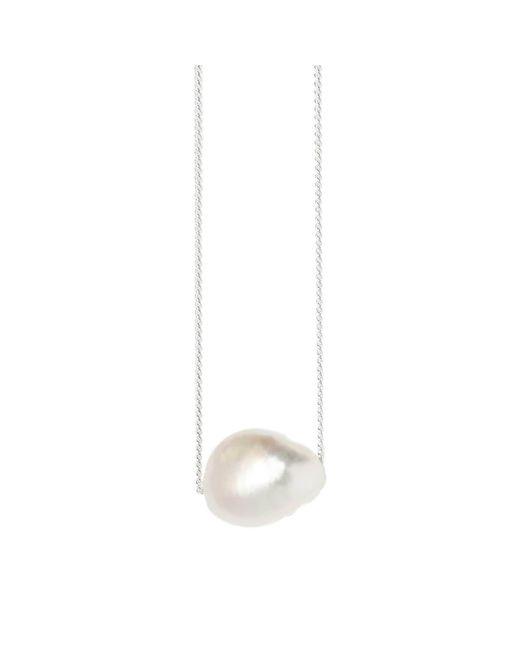 XISSJEWELLERY - Metallic Silver Baroque Pearl Necklace - Lyst