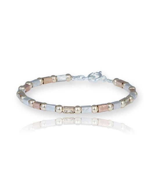 Lavan - Metallic Gold And Silver Three Colour Hammered Bracelet - Lyst