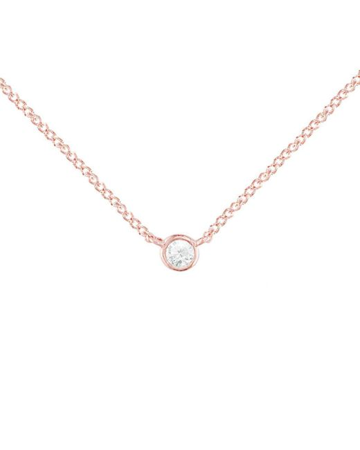London Road Jewellery - Metallic Rose Gold Diamond Solitaire Raindrop Pendant Necklace - Lyst