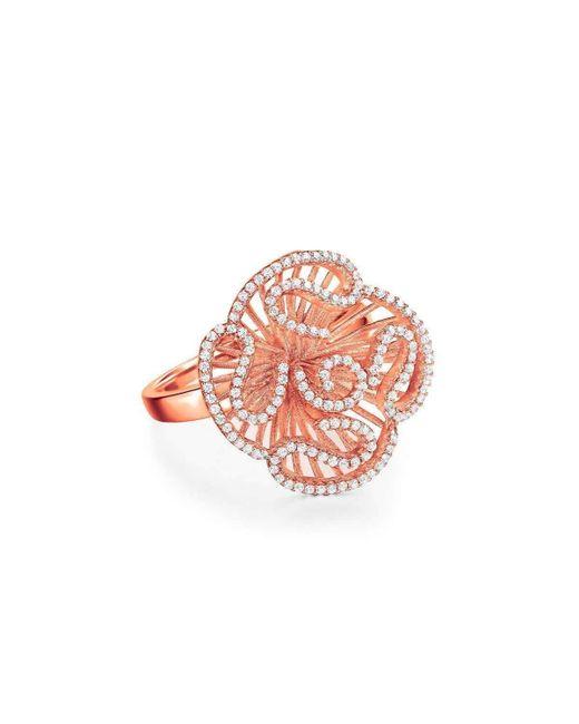 Fei Liu - Multicolor Cascade Stud Ring In 18kt Rose Gold Plate - Lyst