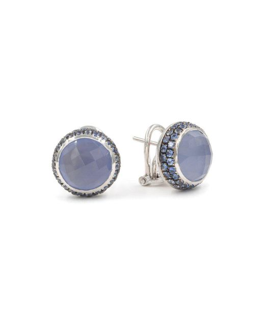 Rina Limor - Multicolor Chalcedony And Sapphire Round Stud Earrings - Lyst