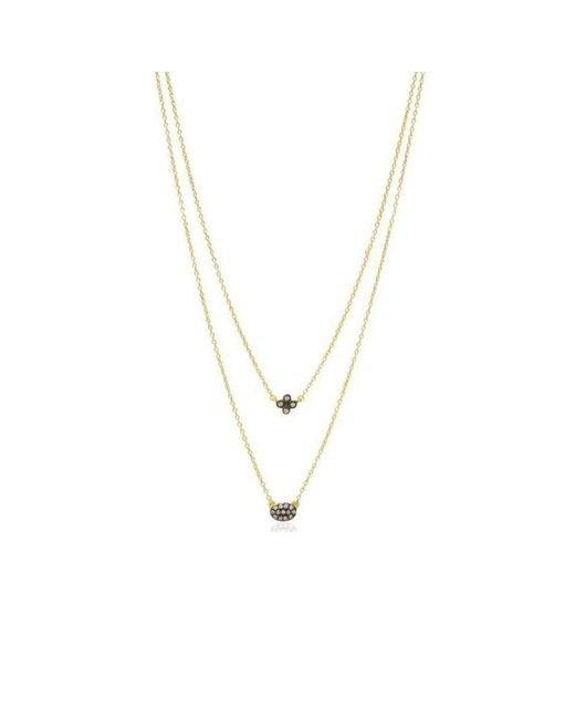 Freida Rothman - Metallic Two Tone Double Drop Clover Pave Oval Necklace - Lyst