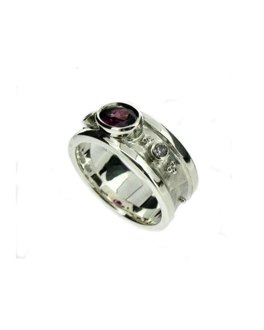 Will Bishop | Metallic White Gold Garnet And Diamond Ring | Lyst