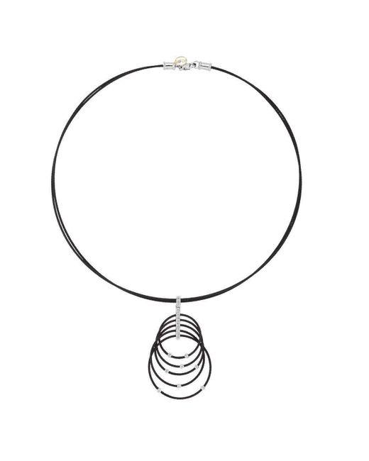 Alor - Metallic 18kt White Gold & Stainless Steel Noir Black Multi Ring Diamond Necklace - Lyst